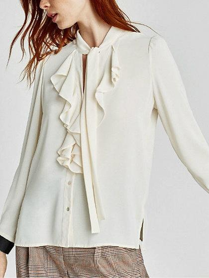 Beige Contrast Bow Front Ruffle Trim Long Sleeve Shirt