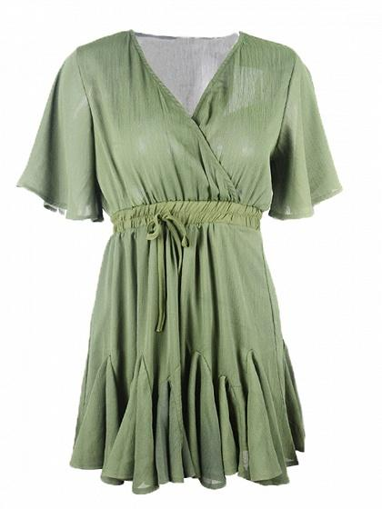 Army Green Wrap Front Tie Waist Mini Dress