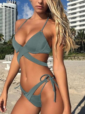 Army Green Cross Strap Bikini Top And Bottom