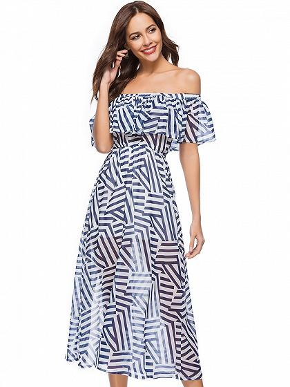 DaysCloth Blue Off Shoulder Geo Pattern Midi Dress