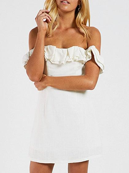 DaysCloth White Faux Suede Off Shoulder Frill Trim Mini Dress