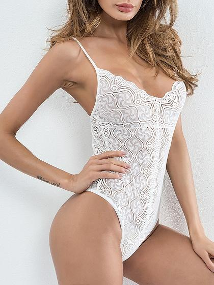 DaysCloth White Spaghetti Strap Cut Out Detail Open Back Lace Bodysuit