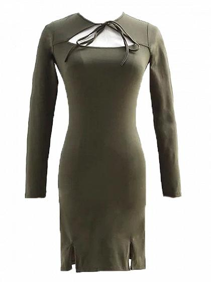 Army Green Tie Front Cut Out Detail Long Sleeve Mini Dress