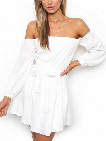 DaysCloth White Off Shoulder Tie Waist Long Sleeve Mini Dress