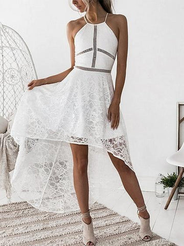 White Cut Out Detail Lace Hi-Lo Dress