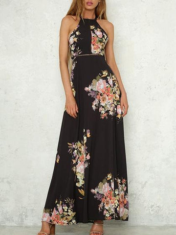 DaysCloth Black Halter Cut Out Detail Floral Print Open Back Maxi Dress