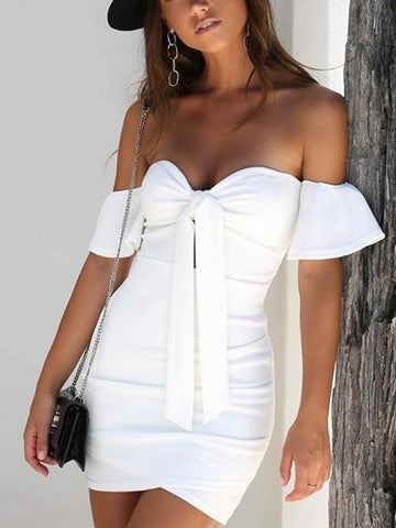 Bandeau Knot Front Bodycon Mini Dress