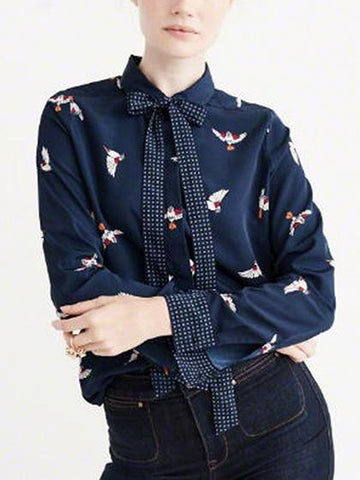 Blue Bird Print Bow Front Long Sleeve Shirt