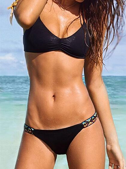 DaysCloth Black Halter Bikini Top And Bottom