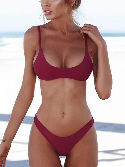 Burgundy Spaghetti Strap Bikini Top And Bottom