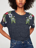 Embroidery Floral Patch T-shirt