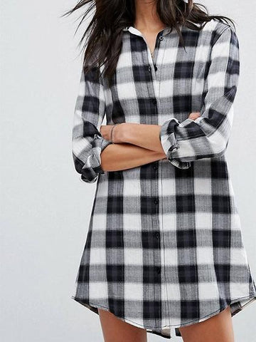 Black Plaid Button Placket Long Sleeve Shirt