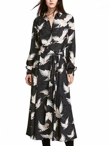 DaysCloth Black Crane Print Long Sleeve Dress