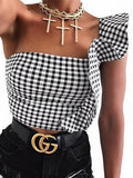 Black Plaid Ruffle Trim Crop Top