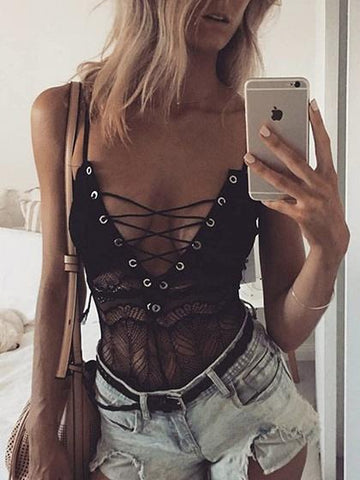 DaysCloth Spaghetti Strap Eyelet Lace Up Front Lace Bodysuit