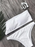 Bandeau Ribbed Bikini Top And Bottom