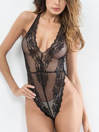 Black Halter Plunge Sheer Lace Bodysuit