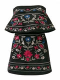 Bandeau Floral Embroidery Mini Dress