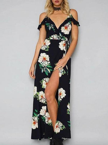 Black Cold Shoulder Spaghetti Strap Tie Waist Floral Print Dress