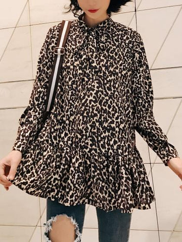 DaysCloth Brown Leopard Print Bow Front Long Sleeve Blouse