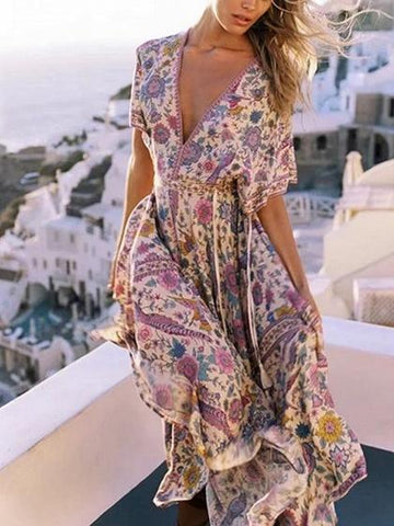 Polychrome Plunge Floral Print Boho Dress
