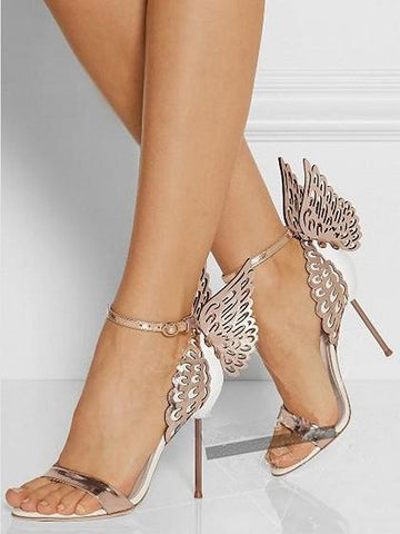 Beige Butterfly Style Leather Look High Heeled Sandals