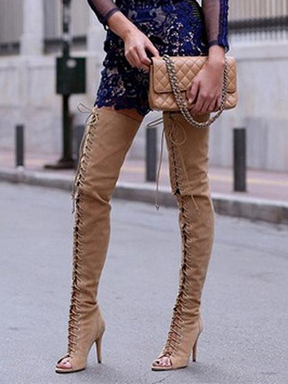Beige Peep Toe Lace Up Heeled Over the Knee Boots