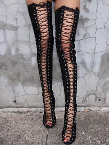Black Peep Toe Lace Up Heeled Over the Knee Boots