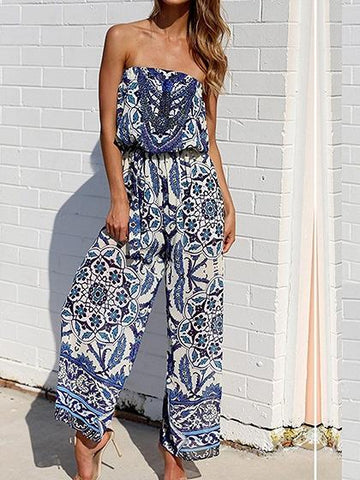 DaysCloth Bandeau Tile Print Wide Leg Jumpsuit