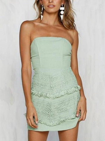 Bandeau Lace and Tassel Detail Tie Back Mini Dress