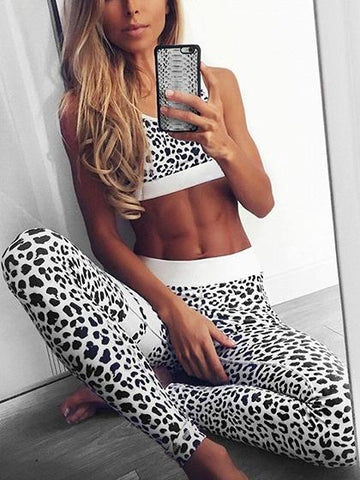 White Stripe Leopard Print Crop Top And High Waist Pants