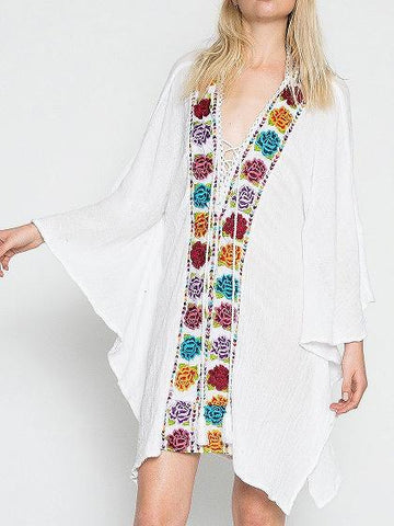 White Lace Up Front Rose Embroidery Asymmetric Hem Dress
