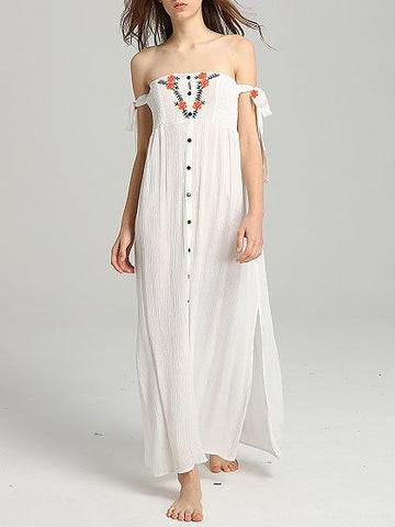 DaysCloth White Embroidery Detail Maxi Dress