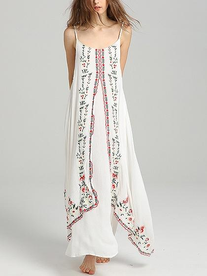 DaysCloth White Spaghetti Strap Embroidery Detail Maxi Dress