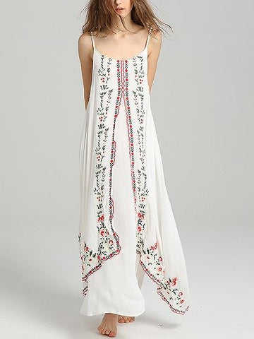 White Spaghetti Strap Embroidery Detail Maxi Dress