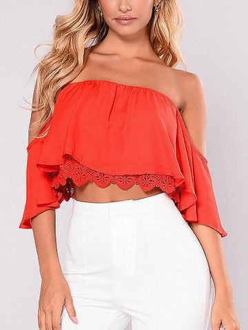 DaysCloth Bandeau Lace Panel Crop Top