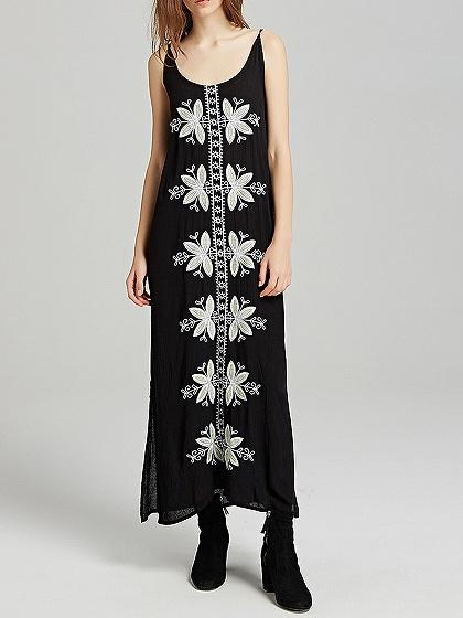 Black Spaghetti Strap Embroidery Detail Split Side Maxi Dress