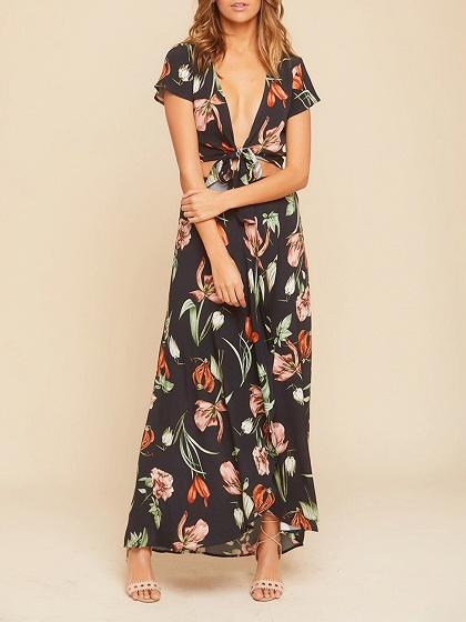 Black V-neck Knot Front Crop Top And High Waist Maxi Skirt