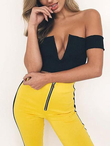 Black Deep V Front Off Shoulder Rib Knit Crop Top
