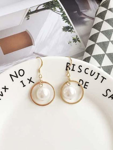 Pearl Circle Pendants Earring