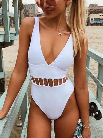 White Cut Out Detail Swimsuit