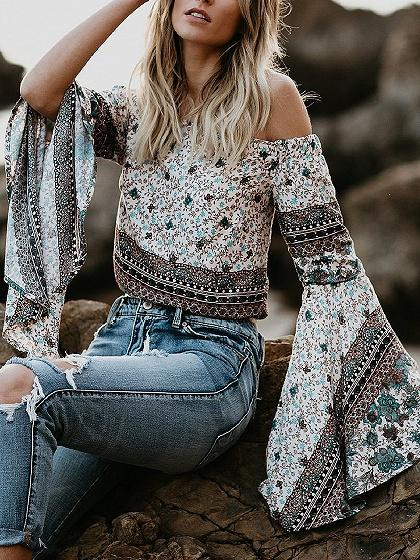 DaysCloth White Off Shoulder Floral Print Flare Sleeve Blouse