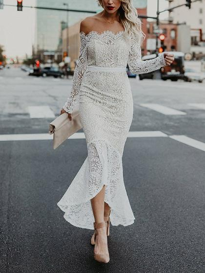 DaysCloth White Off Shoulder Fishtail Hem Long Sleeve Lace Dress