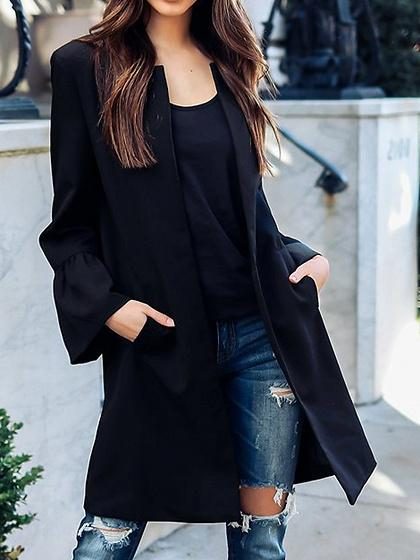 DaysCloth Black Open Front Long Sleeve Longline Coat