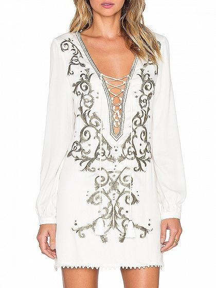 White Lace Up Front Embroidery Detail Long Sleeve Mini Dress