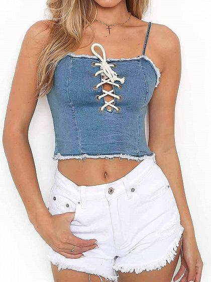 Blue Spaghetti Strap Lace Up Front Denim Crop Tank