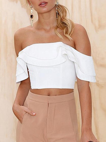 Off Shoulder Ruffle Trim Crop Top
