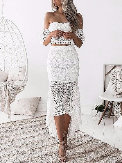 DaysCloth Bandeau Lace Crop Top And High Waist Hi-Lo Skirt
