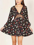 Black V-neck Lace Panel Floral Print Flare Sleeve Mini Dress