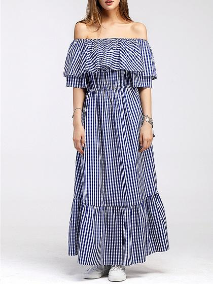 Blue Plaid Off Shoulder Maxi Dress